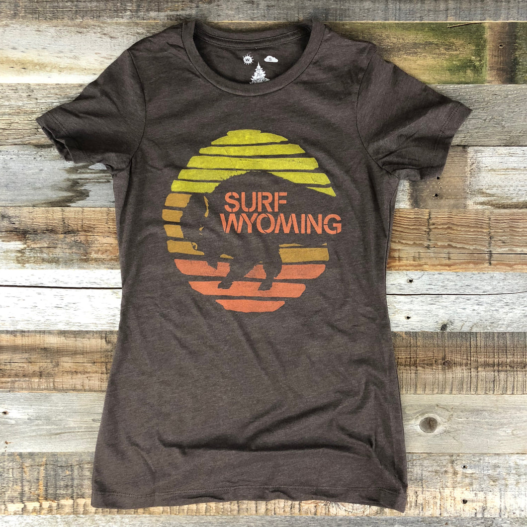 Surf Wyoming-W's Bison Flash Tee - Brown-