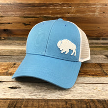 Load image into Gallery viewer, Surf Wyoming-First Park Bison Trucker - Light Blue-
