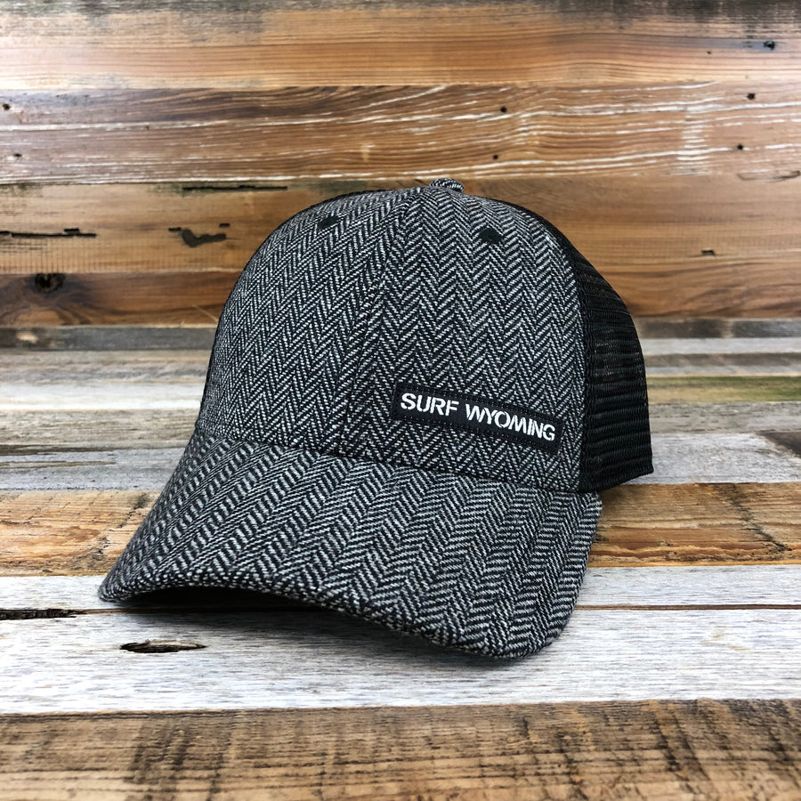 The Basics Trucker - Charcoal Herringbone Wool + Black