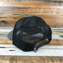 Load image into Gallery viewer, The Basics Trucker - Charcoal Herringbone Wool + Black