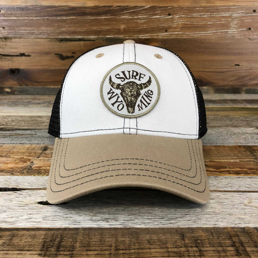 Splash Bison Trucker Hat- Khaki/White