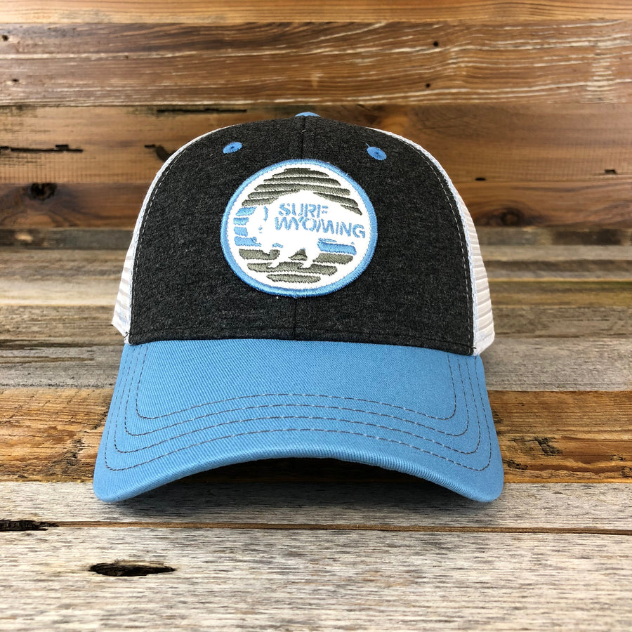 Flash Bison Trucker Hat- Charcoal/Light Blue
