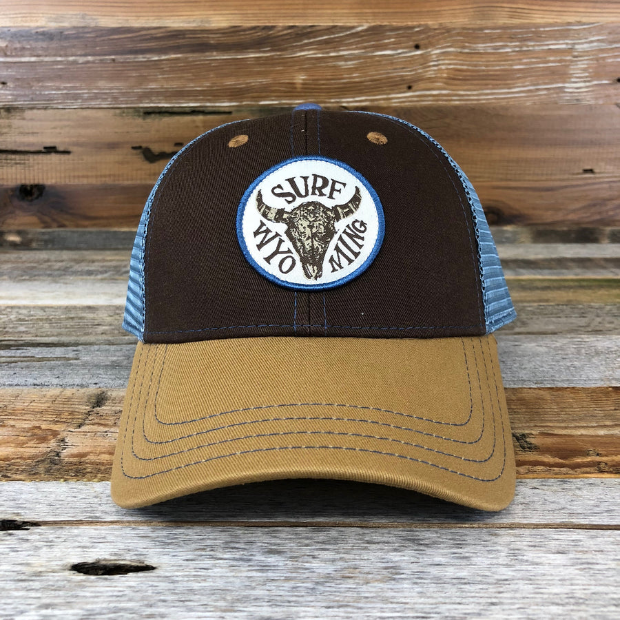 Splash Bison Trucker Hat- Brown/Light Blue