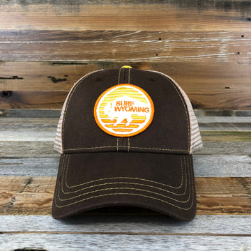 Flash Bison Trucker Hat- Brown/Sunset