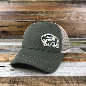 Surf Wyoming Bison Camo Patch Trucker - Olive
