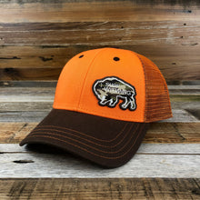 Load image into Gallery viewer, Surf Wyoming-Surf Wyoming Bison Camo Patch Trucker - Blaze Orange/Brown-