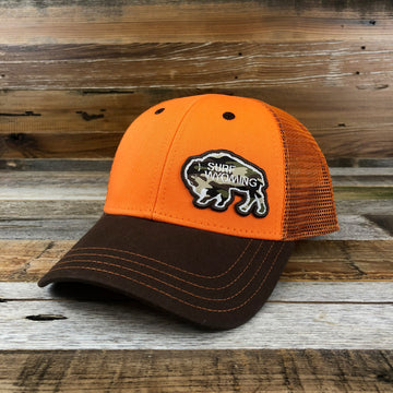 Surf Wyoming Bison Camo Patch Trucker - Blaze Orange/Brown
