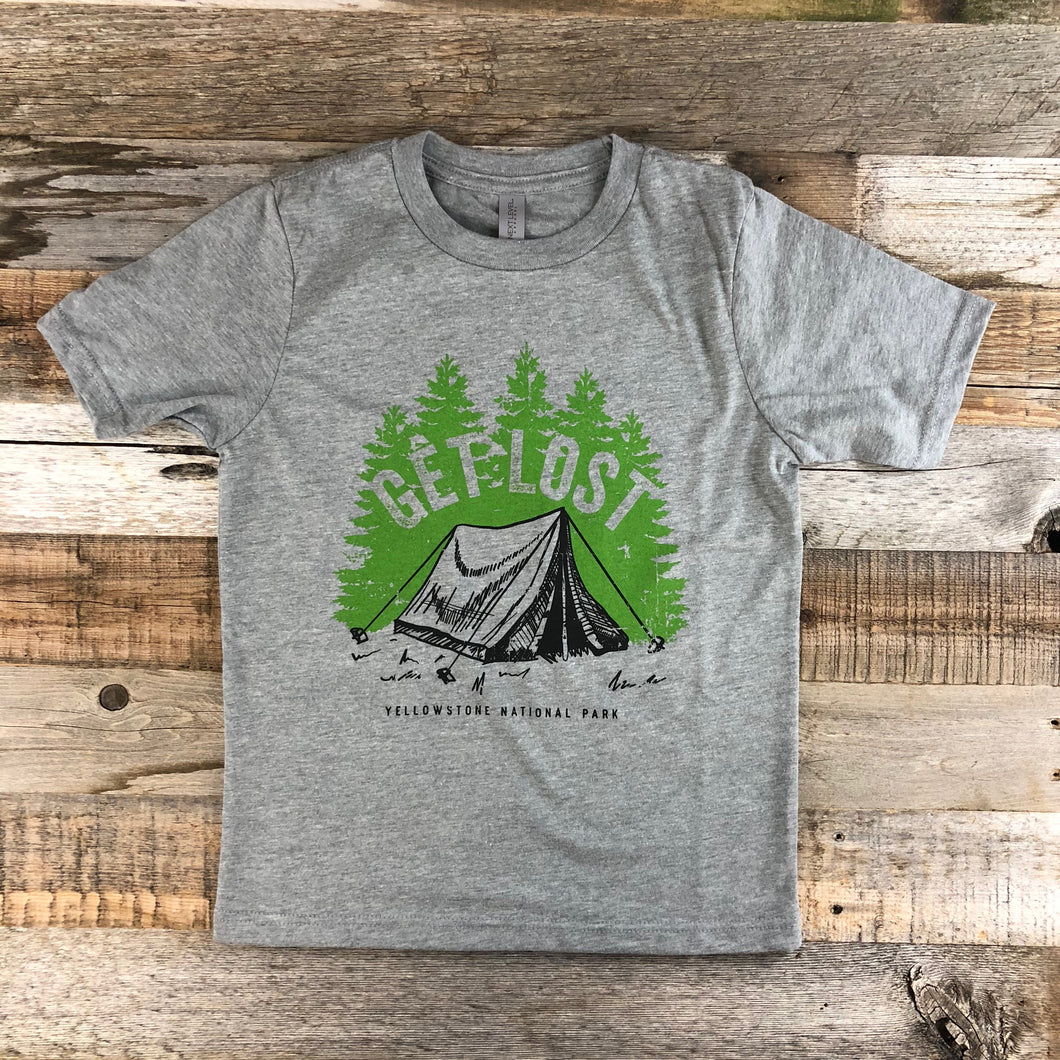 Surf Wyoming-Youth YELLOWSTONE x SW COLLECTION Get Lost Tee - Heather Grey-