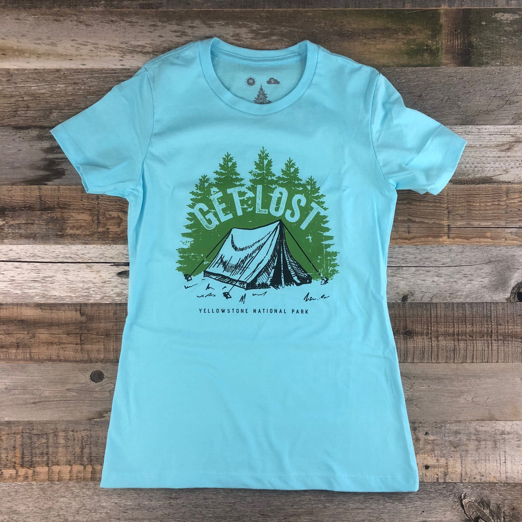 Surf Wyoming-Women's YELLOWSTONE x SW COLLECTION Get Lost Tee - Cool Blue-