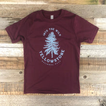 Load image into Gallery viewer, Surf Wyoming-Youth YELLOWSTONE x SW COLLECTION Into The Wild Tee - Maroon-