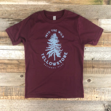 Youth YELLOWSTONE x SW COLLECTION Into The Wild Tee - Maroon