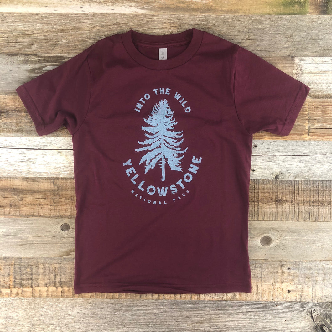 Surf Wyoming-Youth YELLOWSTONE x SW COLLECTION Into The Wild Tee - Maroon-