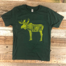 Load image into Gallery viewer, Surf Wyoming-Youth YELLOWSTONE x SW COLLECTION Golden Moose Tee - Forest Green-