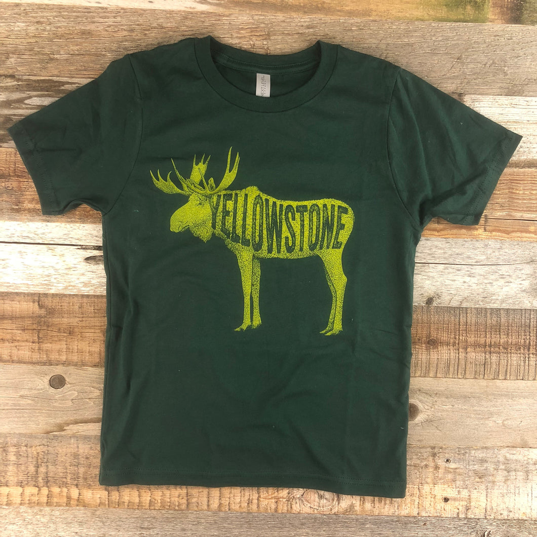 Surf Wyoming-Youth YELLOWSTONE x SW COLLECTION Golden Moose Tee - Forest Green-