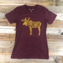 Load image into Gallery viewer, Surf Wyoming-Women's YELLOWSTONE x SW COLLECTION Golden Moose Tee - Maroon-