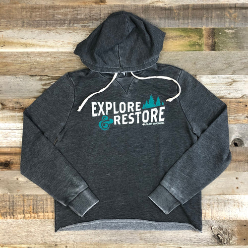 Surf Wyoming-Women's SURF WYOMING® Explore & Restore Raglan Pullover Hoodie - Charcoal-