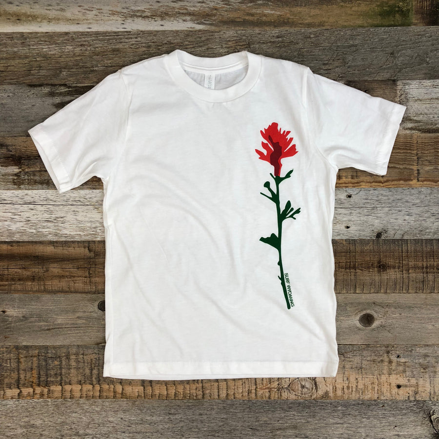 **RED BISON STUDIO COLLAB** Youth INDIAN PAINTBRUSH Tee - White