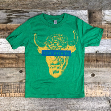 Youth Censored Bison Tee - Lander Green