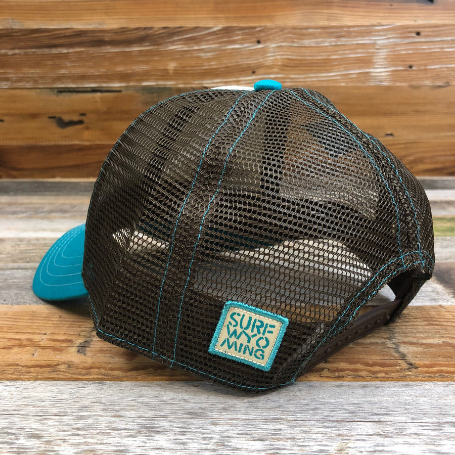 Surf Wyoming® Bridled Bison Trucker Hat - Cream/Brown/Teal