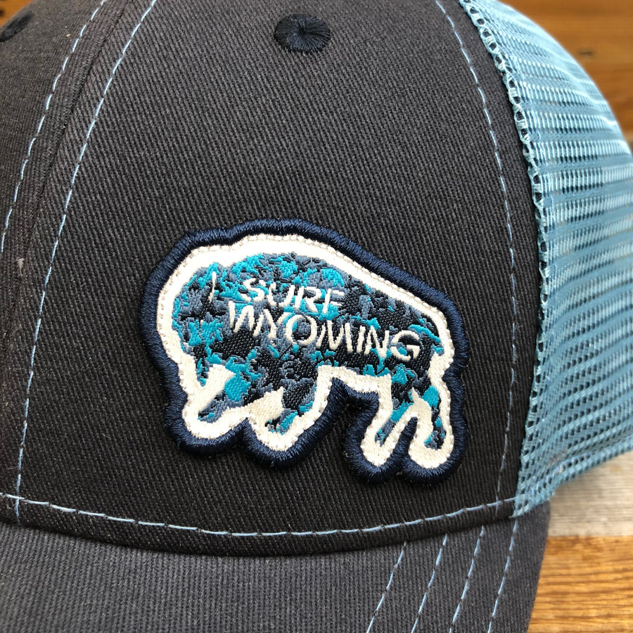 Surf Wyoming® Mottled Bison Trucker Hat - Navy/Carolina