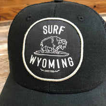 Load image into Gallery viewer, Surf Wyoming® Hang Twenty Vintage Bison Patch Trucker Hat - Black