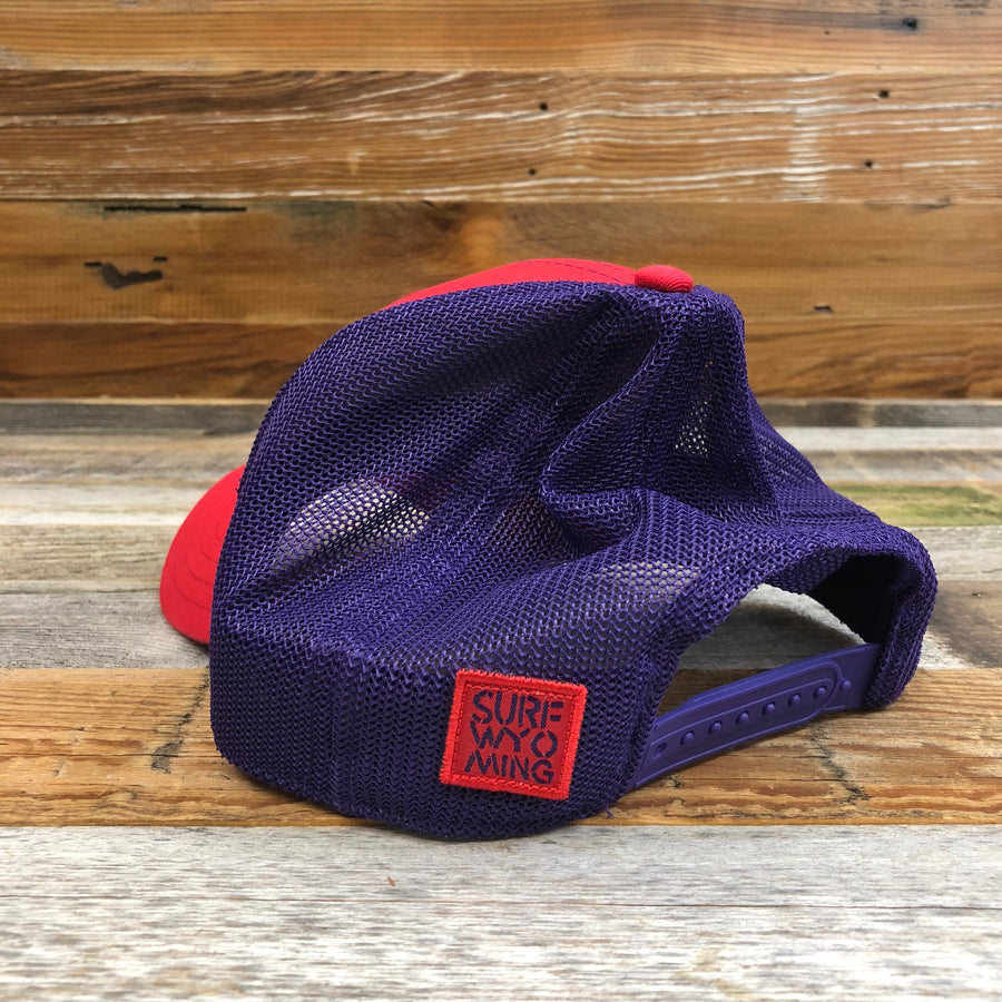 Surf Wyoming® Censored Tech Mesh Hat - Red/Purple