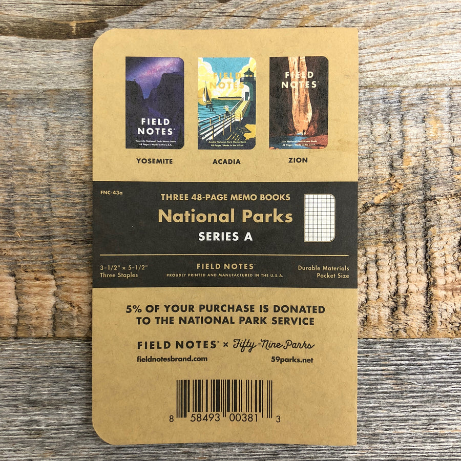 NATIONAL PARKS Series A - Field Notes - 3-Pak