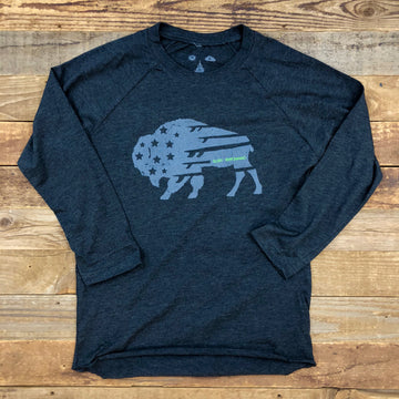 Women's Surf Wyoming® Bison Quiver Baseball Tee - Charcoal