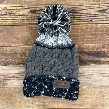 LEATHER PATCH POM BEANIE