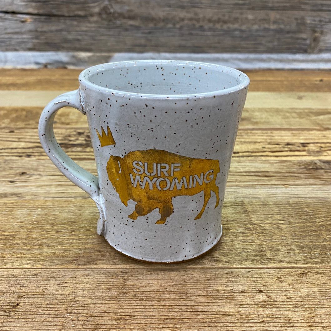 Surf Wyoming-King Bison Handcrafted Mug - Grey/Gold-Grey_Gold-