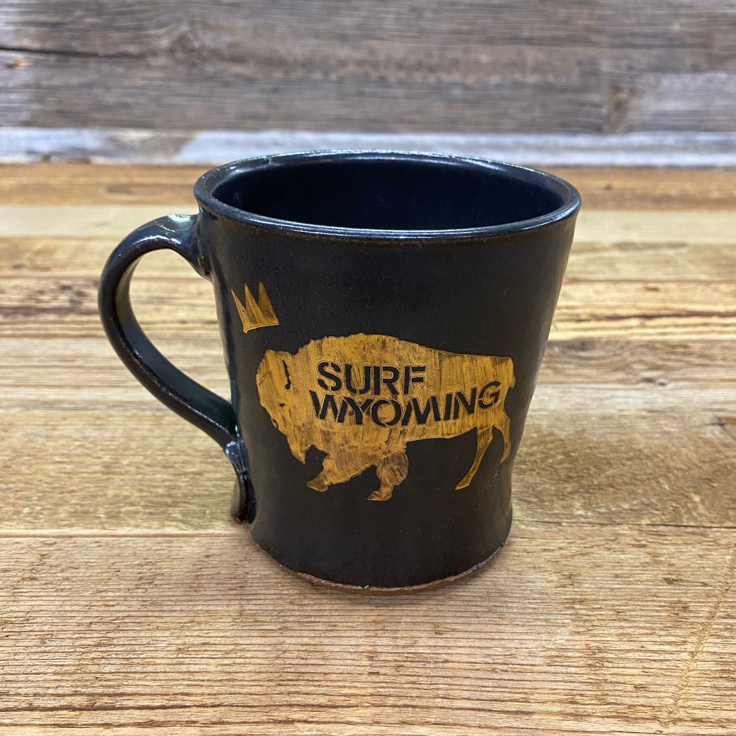 Surf Wyoming-King Bison Handcrafted Mug - Black/Gold-King_Bison_Handcrafted_Mug_Black/Gold-