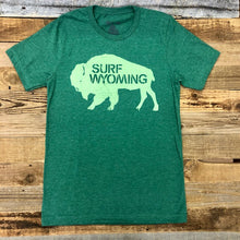 Load image into Gallery viewer, Surf Wyoming-Men's SURF WYOMING® Bison Logo Tee - Two Tone Heather Green-
