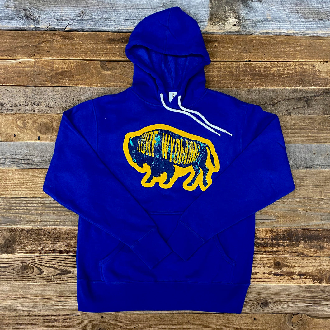 Surf Wyoming-Unisex Intermix Bison Hoodie - Cobalt-