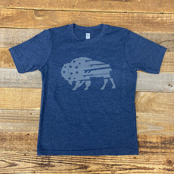 Youth Bison Quiver Tee - Indigo