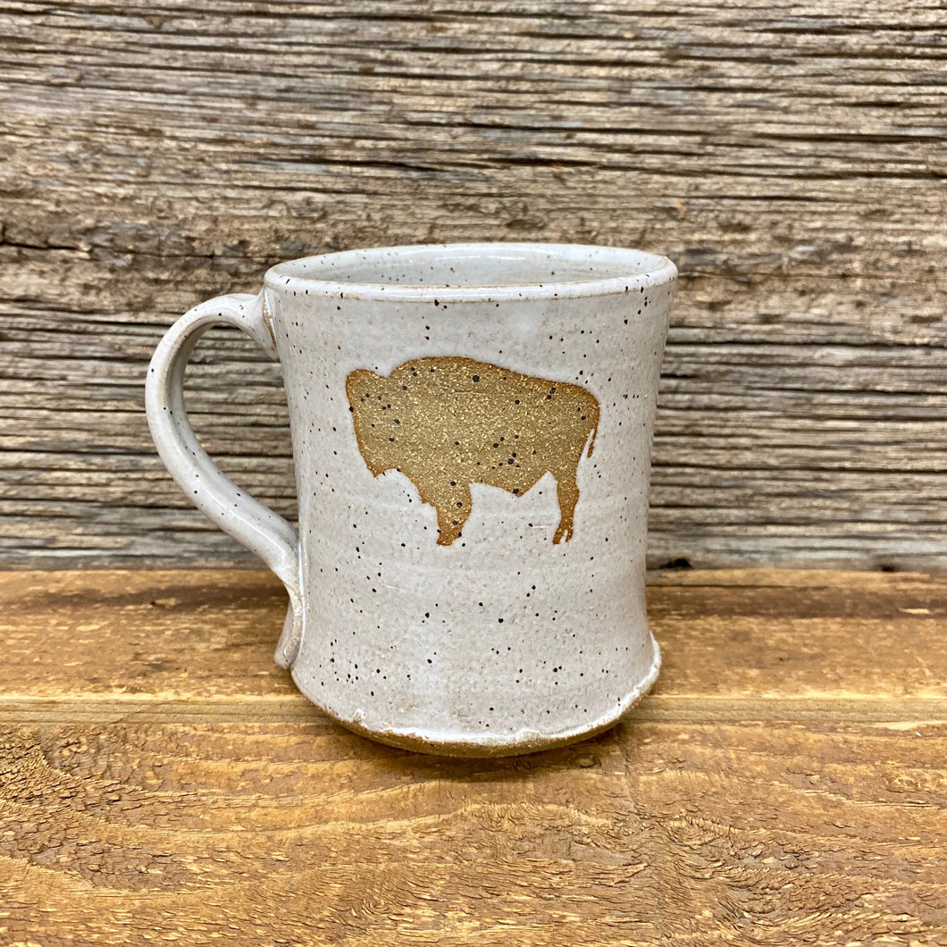 Surf Wyoming-Wyoming Bison Handcrafted Mug - Grey/Natural-White-