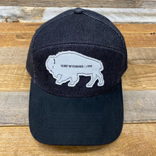 Load image into Gallery viewer, Surf Wyoming-Tradesman Bison Cap - Black Denim/Suede-
