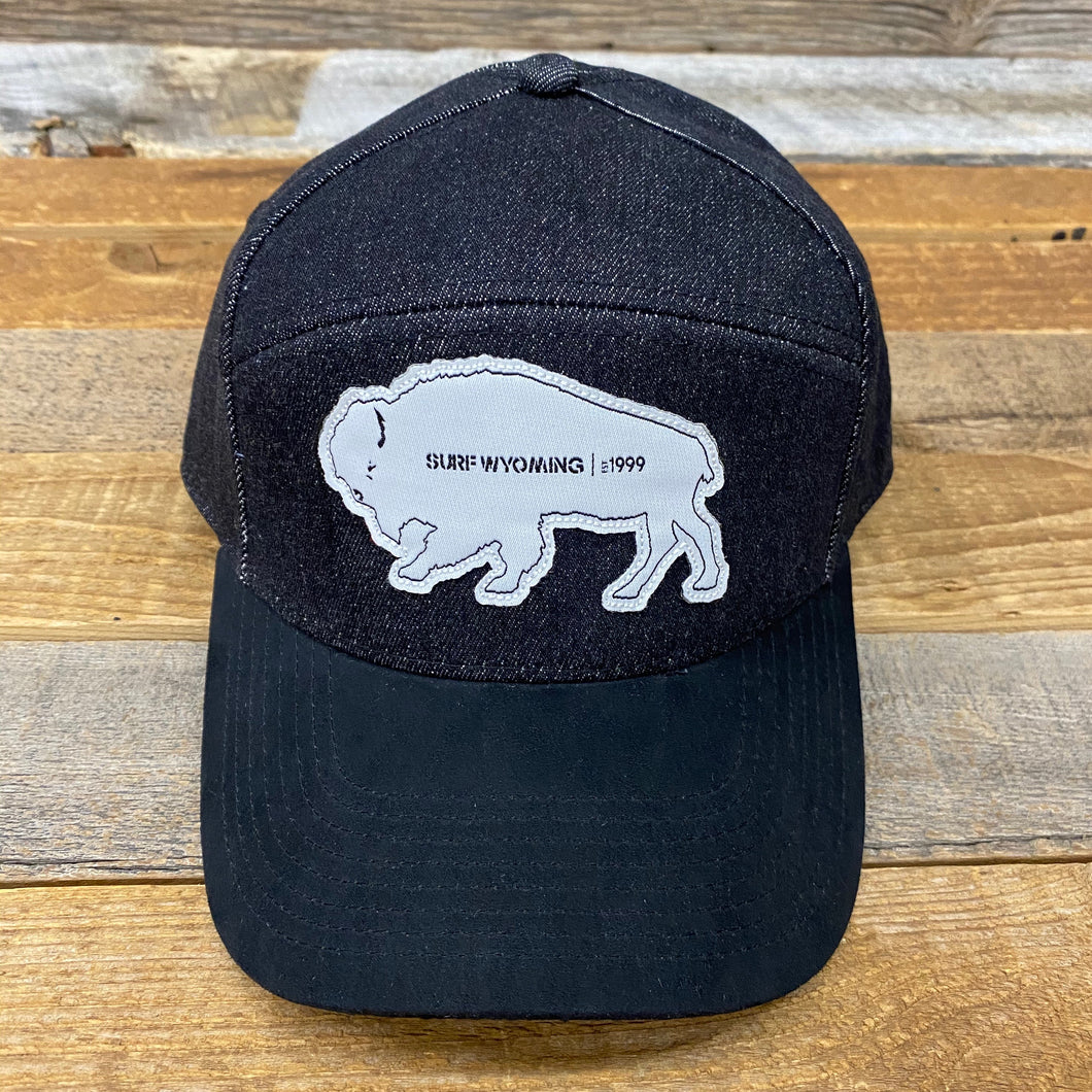 Surf Wyoming-Tradesman Bison Cap - Black Denim/Suede-