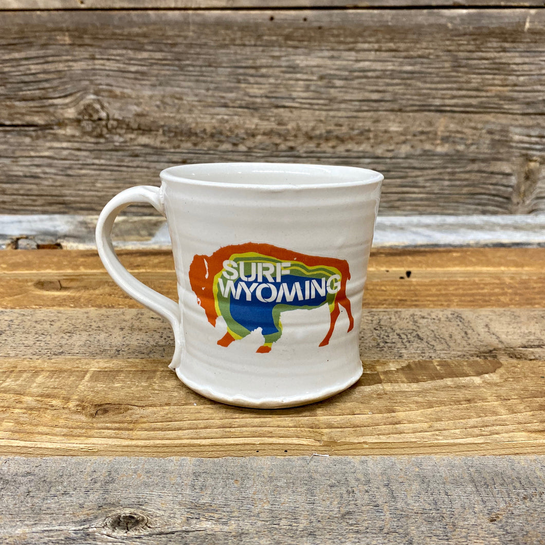 Surf Wyoming-Prismatic Handcrafted Mug - White-Prismatic Bison Mug-