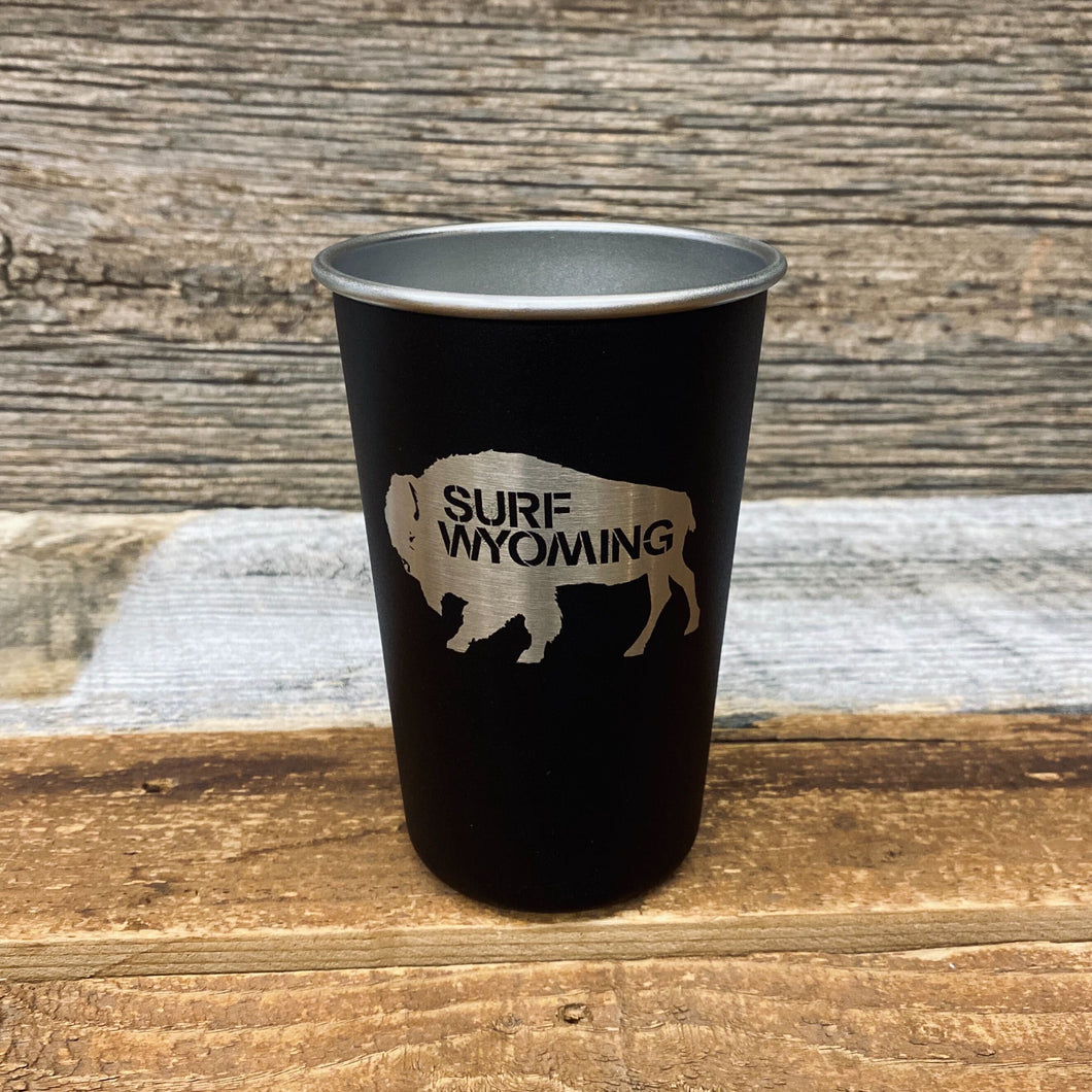 16oz Stainless Steel Bison Camping Pint - Matte Black/Silver