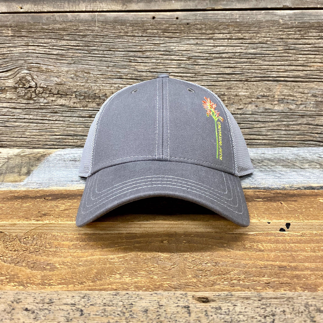 Indian Paintbrush Trucker Hat - Grey