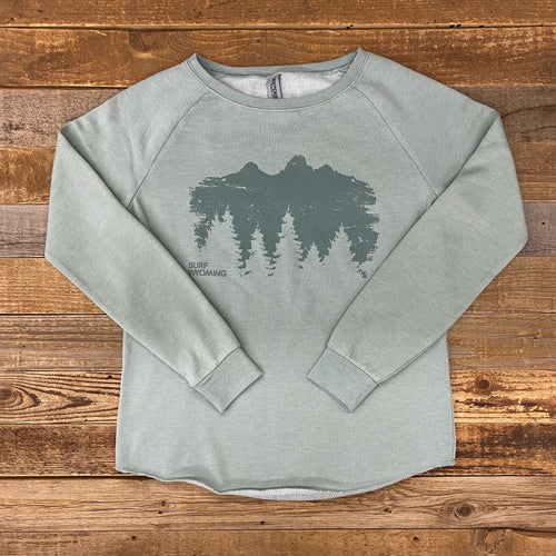 Surf Wyoming-Women's Timberline Boyfriend Sweatshirt - Sage-