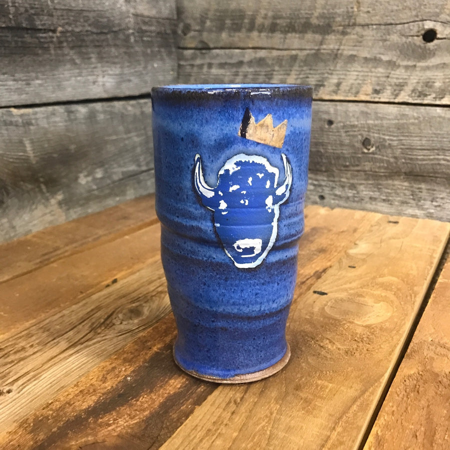Surf Wyoming® King Bison - Handmade Ceramic Pint - blue