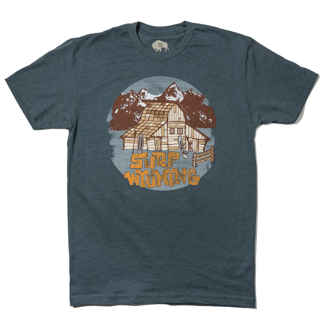 Surf Wyoming-Men's Barn Tee - Indigo-