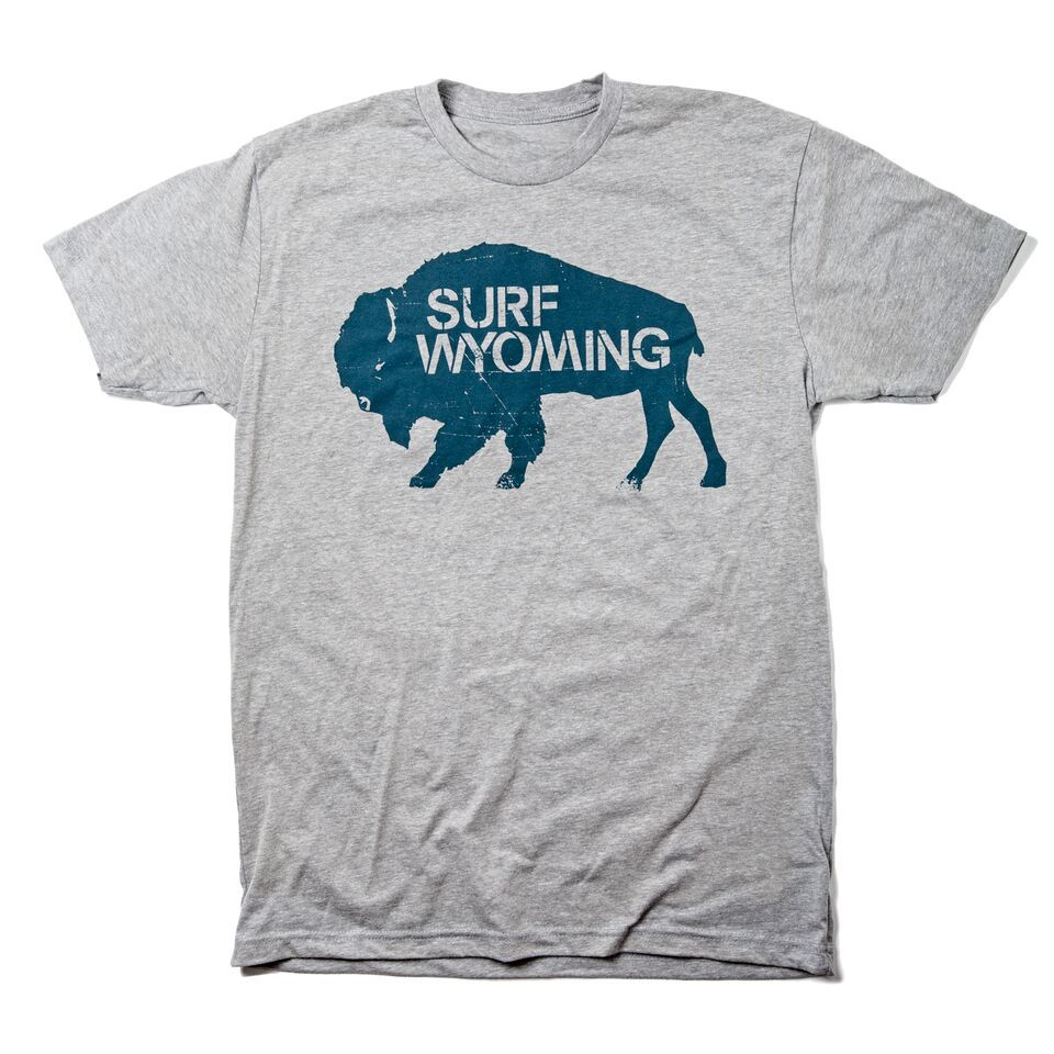 Surf Wyoming-Men's SURF WYOMING® Bison Logo Tee - Heathered Grey/Deep Water Blue-