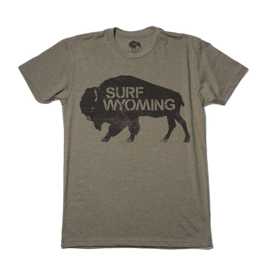 Men's SURF WYOMING® Bison Logo Tee - Vintage Military