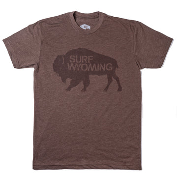 Men's SURF WYOMING® Bison Logo Tee - Espresso