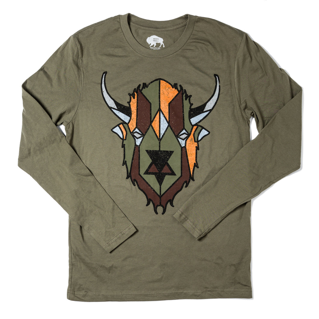 Surf Wyoming-Men's Digi Bison Long Sleeve - Military Green-