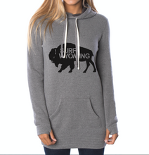 Load image into Gallery viewer, Women's SURF WYOMING Bison Logo Hoodie Dress - Heather Grey