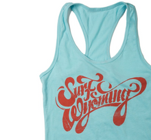 Load image into Gallery viewer, W's Script Racerback Tank - Sky Blue/Coral
