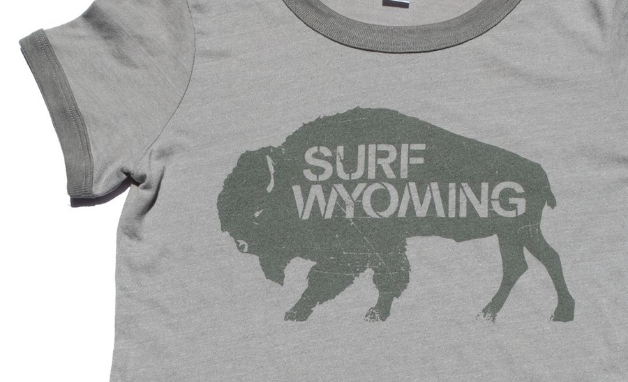 Women's Surf Wyoming® Bison Surplus Ringer Tee - Brushed Nickel (an Eco-friendly product)